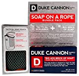Duke Cannon Soap On A Rope Bundle Pack: Tactical Scrubber + Big A Brick of Soap -'Smells Like Naval Supremacy'