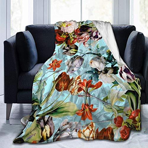 Guduss Summer Botanical Throw Blanket Soft Flannel Fleece Blanket for Couch,Bed,Sofa,Chair Office,Travel,Camping,Modern Decorative Warm Blanket60*50