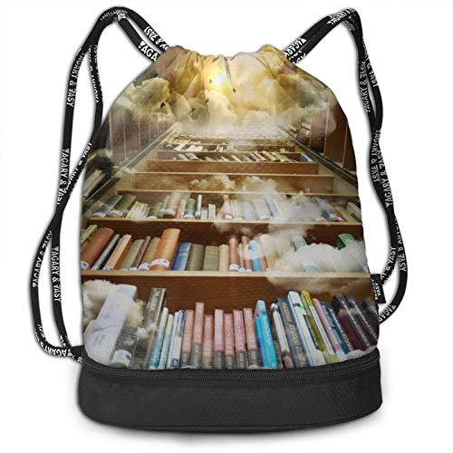 Library Library Library - Mochila con cordón, Estantería nubes atardecer, Talla única