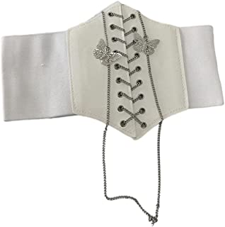 Cintura con lacci Cinch Cintura con corsetto elastico retrò con catena in metallo a farfalla Fascia larga con cintura elas...