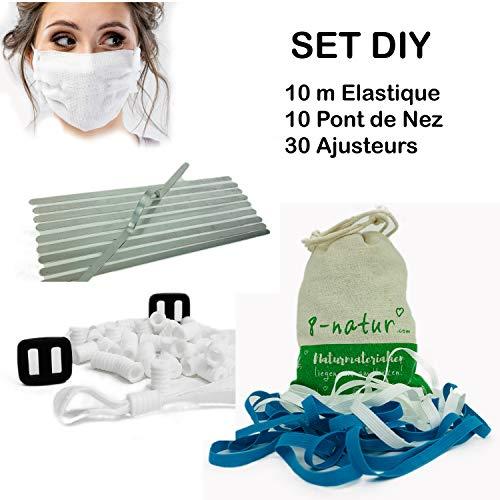 8-Natur Gummiband 5mm weiß Bastelset | Nasenbügel für Mundschutz rostfrei & Kochfest | Silikon Schnallen | Sofortiger Versand aus Deutschland