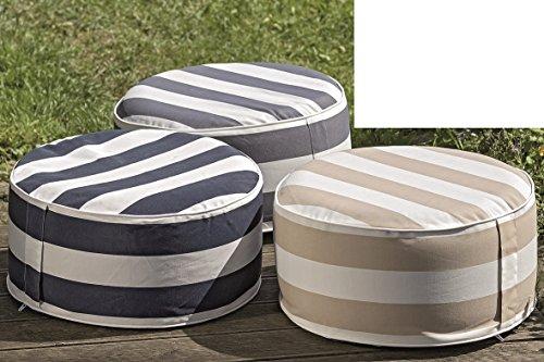 Meinposten Sitzkissen Sitzpouf Pouf Hocker Kissen beige grau blau Ø 53cm aufblasbar Outdoor (beige-weiß)
