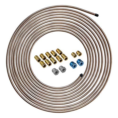 4LIFETIMELINES 25 ft 3/16 Copper Coated Galvanized Steel Brake Line Replacement Tubing Coil and Fitting Kit, 16 Fittings Included, Inverted Flare, SAE Thread, 0.028 inch wall thickness