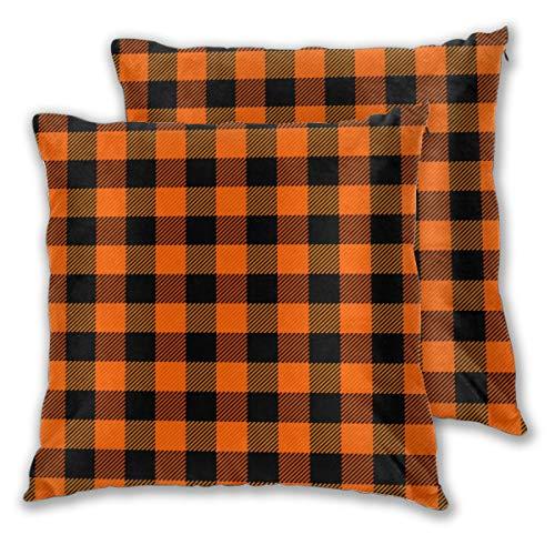 Juego de 2 fundas de almohada decorativas para sofá, silla, sofá, sillón, dormitorio, color naranja escocés, negro y búfalo