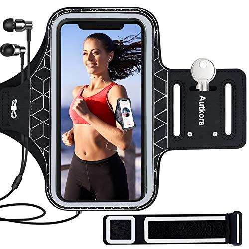 Autkors Brazalete de running para iPhone 12/12 Pro Max/11/11 Pro/11 Pro Max/X/XS/XR hasta 6.7 pulgadas, resistente al sudor para teléfono deportivo con llave y ranura