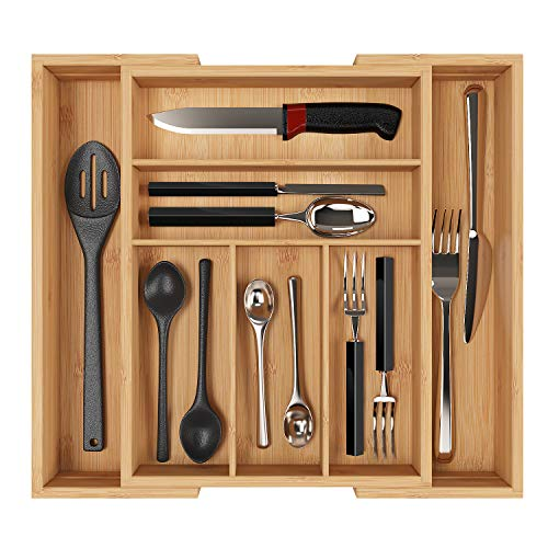 Homfa Bandeja para Cubiertos Organizador para Cubiertos Portacubiertos con 7 Compartimientos de Bambú (30-50) x40x6.5cm