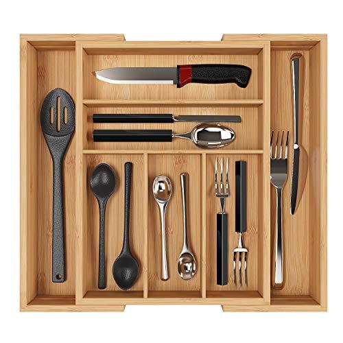 Homfa Bambus Besteckkasten ausziehbar 7 Fächer Besteckfach für Schubladen Schubladeneinsatz als Küchenorganizer Besteckeinsatz verstellbar 30-50x40x6.5cm(BxTxH)