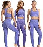 C K CrisKat Conjunto Deportivo 3 Piezas Camiseta Sujetador y Pantalones de Yoga Traje Conjunto de Leggings y Sujetador Deportivo Conjunto de Yoga sin Costuras para Fitness (M, Set Morado)
