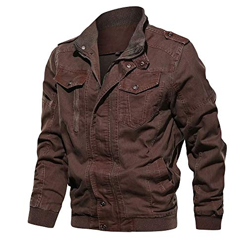 WEEN CHARM Mens Jean Jacket Military Jacket Field Jacket Bomber Jacket Cotton Denim Jacket Red