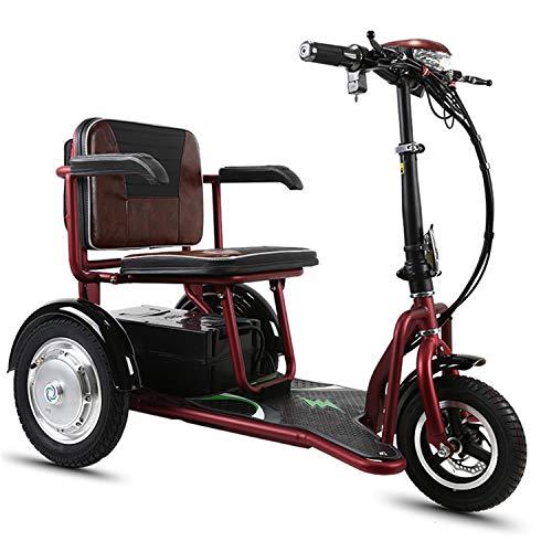 JHKGY Scooter Triciclo Eléctrico -Scooter Eléctrico Plegable De Movilidad,Scooter De Viaje Portátil De 3 Ruedas,Scooter Eléctrico De Viaje para Ancianos/Discapacitados/Al Aire Libre