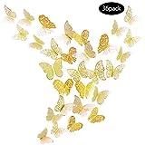 JUN-H 36 Stücke 3D Schmetterling Wandaufkleber Schmetterling Dekoration DIY Wandkunst Aufkleber Schlafzimmer Baby Dekor Abziehbilder Abnehmbare Dekorative Papier Wandbilder (Gold)