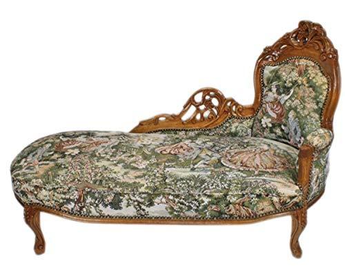 Casa Padrino Barock Chaiselongue Gobelin Muster/Braun - Antik Stil Möbel Lounge Liege Recamiere