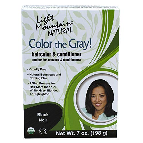 Light Mountain Natural Color The Gray! Hair Color & Conditioner, Black, 7 oz (197 g) (Pack of 2) by Light Mountain