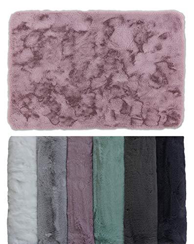 Schöner Wohnen Kollektion Badezimmerteppich 40 x 60 cm – sehr Flauschige Badematte Rose – waschbar und rutschhemmend