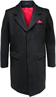 Relco Mens Crombie Mod Overcoat with Red Lining