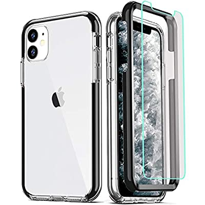 COOLQO Compatible for iPhone 11 Case, with [2 x Tempered Glass Screen Protector] Clear 360 Full Body Coverage Hard PC+Soft Silicone TPU 3in1 Heavy Duty Shockproof Defender Phone Protective Cover Black