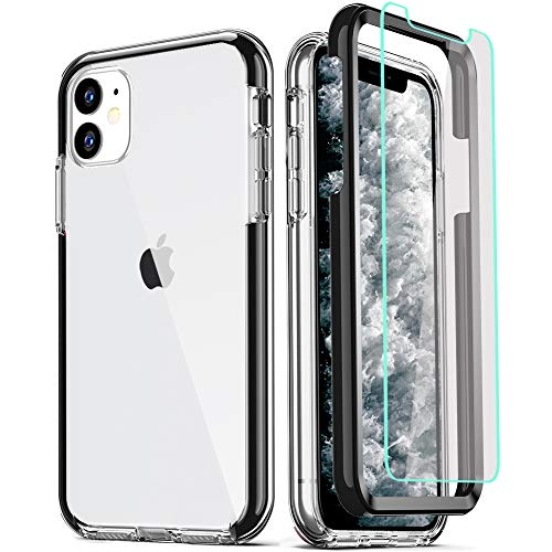 COOLQO - Carcasa para iPhone 11 (2 Protectores de Pantalla de Cristal Templado, Cobertura Completa 360, policarbonato Duro, Silicona Suave TPU, 3 en 1, Resistente a los Golpes, Protector de teléfono)