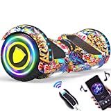 HXBH Self-Balancing Scooter with Bluetooth Speaker air Cushion Board LED Light Remote Control 6.5 inch Light-Emitting Wheel Electric self-Balancing Scooter