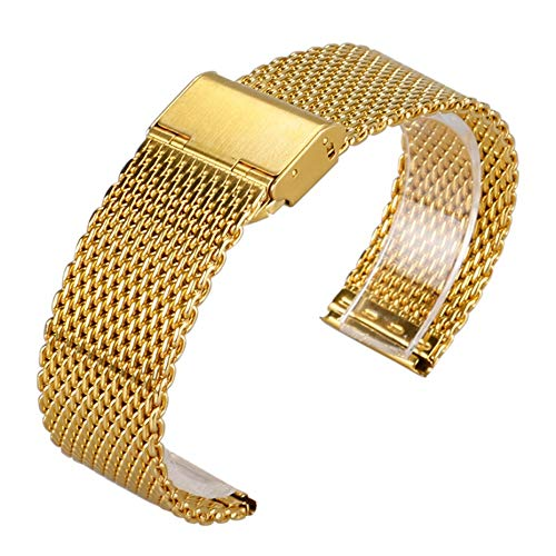 WNFYES El Oro de Lujo de Malla de Acero Inoxidable Reloj Bandas Hebilla de Gancho 20/22 mm de Anchura Correas de Reloj +2 Barras de Resorte Relojes Correas (Color : Gold, Size : 22mm)