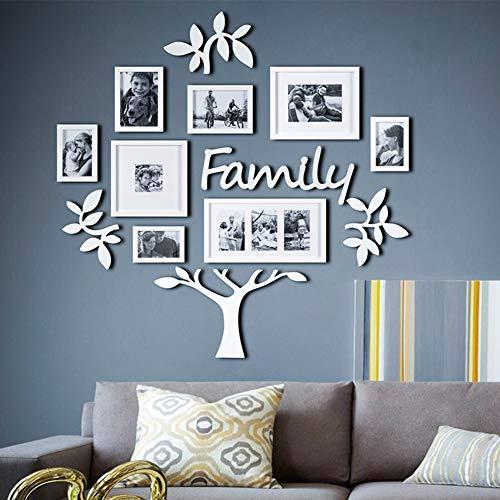 MUZIDP Wohnzimmer Home Office Fotowand,Kunststoff Bild Rahmen Collage,Foto-Rahmen-Wand Bilderrahmen Set Foto-Rahmen-Wand-Weiß
