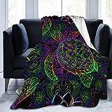 YISHOW Psychedelic Sea Turtle Fleece Throw Blanket Plush Soft Throw for Bed Sofa, 80'X60'