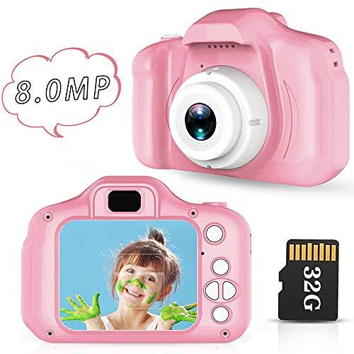Lovebay Cámara Infantil para niños, Fotos Infantiles, Pantalla IPS Color Rosa de 2.0 Pulgadas, 8 Millones de píxeles, Juguetes Infantiles de 4-5-6-7 años