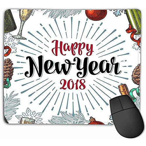 Non-lip Dikke Rubber Grote Mousepad 30X25CM Gelukkig Nieuwjaar Kalligrafie Lettering Groet Champagne Glazen Fles Sneeuwvlok Pine Cone Speelgoed spar