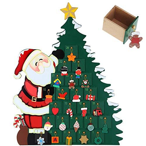BAKAJI Calendario dell' Avvento di Natale in Legno con 24 Cassetti Numerati per Sorpresa Decorazioni Addobbi Natalizi Casa (Babbo Natale con Albero)
