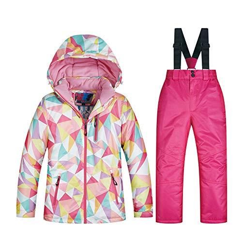FREEWM Veste de Ski Enfant, Ski Veste Hiver Garçons Filles Imperméable Chaude Ski Sports Hooded Costumes Plein Air Jacket,Rouge,L