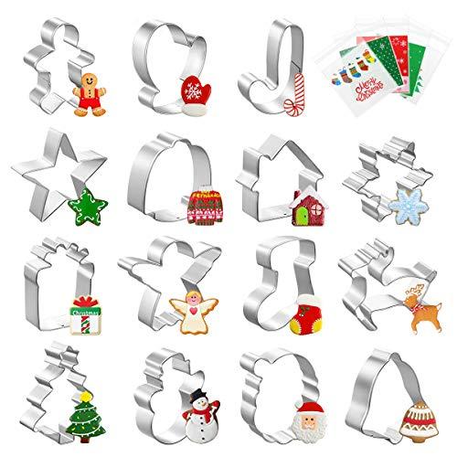 Homemaxs - Stampini per biscotti, 15 pezzi, per biscotti natalizi per bambini, con 100 sacchetti per biscotti, fiocchi di neve, albero di Natale e molto altro ancora, per torte fai da te e pasticceria