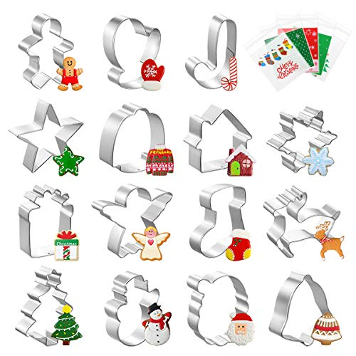 Homemaxs Cookie Cutters【2020 Newest】,15 Pcs Christmas Cookie Cutter for Kids with 100 Pcs Cookie Candy Bag, Snowflake, Christmas Tree and More for DIY Baking Cake Craft Pastry Bakeware Decoration