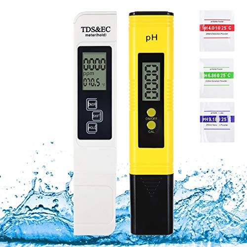 High Accuracy PH and TDS Meter Combo,4 in 1 Digital PPM Meter PH Water Tester Pen Type Water Quality PH Pen TDS EC Temperature Meter Kit for Drinking Water, Laboratory, Aquarium, Swimming Pools