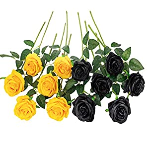 Floralsecret 12 Piezas Rosas Artificiales Flores de Seda Imidacial Ramo Decoración de Boda Casa(Amarilla, Negra)