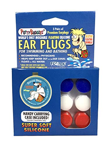 PUTTY BUDDIES Floating Earplugs 3-Pair Pack – Soft Silicone Ear...