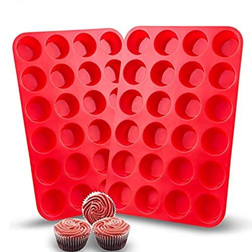 Moule Muffin Silicone Anti-AdhÉSif Pour 24 Mini Muffins 1 / 2 Pack, Alimentaire Sans BPA RÉUtilisables Ecologiques 24 Mois De Garantie cup cakes Brownies Gâteaux couleur bleu rouge (2 Pack, Rouge)