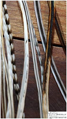 Grizzly de (neuf) 5 extensions en plumes extensions naturel + Blanc pour cheveux noirs