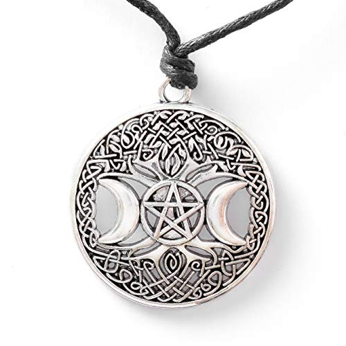 HAQUIL Wiccan Necklace - Metal Alloy, Tree of Life Triple Moon Goddess Pentagram Pendant - Waxed Cotton Cord, Adjustable Length 35.4'