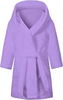 SHUCHENG Girls' Cute Soft Hooded Fleece Bathrobe Robe