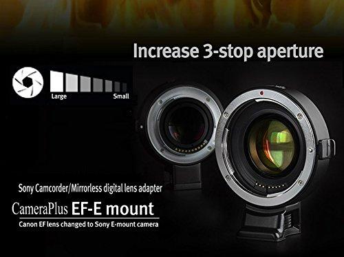 CameraPlus - Adaptador de enfoque automático Focal Reductor (adaptador de conversión Full-Frame, Focal Reductor SpeedBooster) para Canon EOS EF en Sony E-mount - Sony Alpha a6000 a5100 A5000 A3000 NEX-7 NEX-6 NEX-5N NEX-5R 5T NEX-NEX- 5 NEX-3 NEX-3N NEX-F3 NEX-VG30 VG20 VG10 VG900 C3 FS700 (AT-EF E-adaptador Speed Booster)