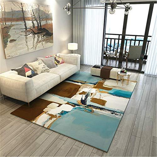 Alfombra Outlet,Alfombra Azul, patrón de Tinta Blanca marrón-Amarillo, fácil de aspirar el balcón, fácil de Extender la Alfombra ,Alfombra para Exterior -Azul_El 140x200cm