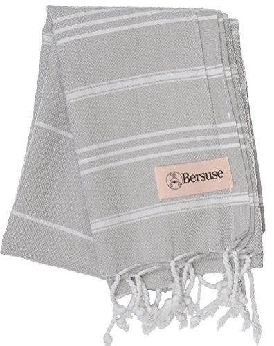 Bersuse 100% Katoen - Anatolia Turkse Handdoek - Hoofd Haar Gezicht Baby - Keuken- en Badhanddoeken - OEKO-TEX - 60 x 110 cm, Zilver grijs