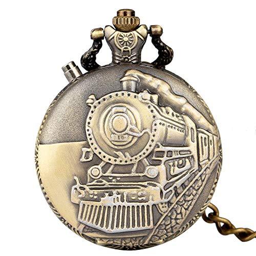 DZX Klassische bronzene dampfbetriebene Autoabdeckung Taschenuhr für Männer, praktisches großes weißes Zifferblatt mit arabischen Ziffern Taschenuhren für Frauen, Utility Bronze Rough Chain Anhä