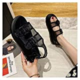 Youpin Celebrity mesh Double Metal Buckle Strap Platform Sandals Women Creepers Open Toe Roman Sandalias Breath Muffins Femmes Sandales (Color : Black, Shoe Size : 6.5)
