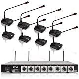 8 Channel Wireless Microphone System - Portable VHF Cordless Audio Mic Set with...