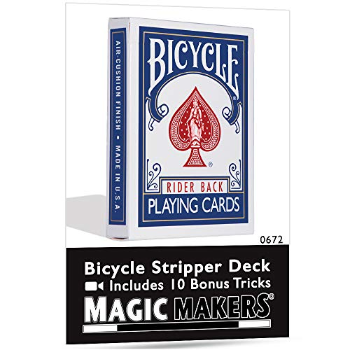 Magic Makers Bicycle Stripper Deck with 10 Bonus Tricks (Blue) - Tapered Magic Trick Deck