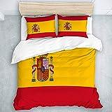 TARTINY Bedding Juego de Funda de Edredón Rojo Bandera española de España Armas