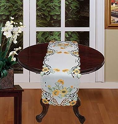 "Creative Linens Sunflower Table Runner 15x53"" Embroidered Cutwork Dresser Scarf White"
