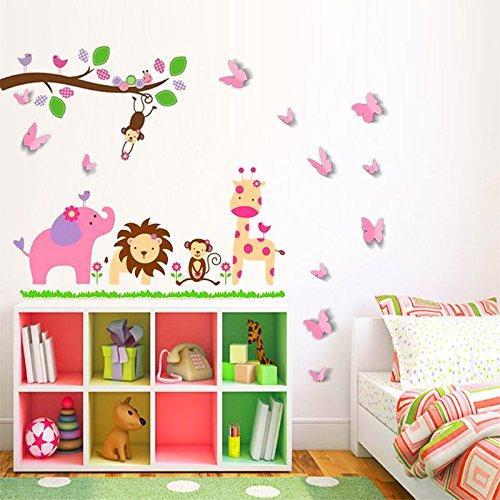 Animaux de la Savane avec Papillons - Sticker Mural (Muraux Décoration Murale Stickers Wall Decal Autocollants Salon Chambre d'enfants Nursery Made in Germany)