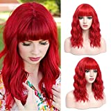 SHINYSHOW 18'' Synthetic Red Wig, Medium Length Bright Red Wig with Bangs, Synthetic Red Wavy Wig, Adjustable Average Size