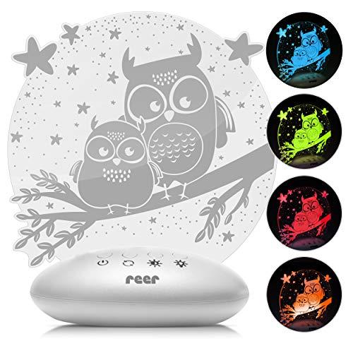 Reer 52131 ColourLumy « hibou » Veilleuse pour enfant avec vitre en verre acrylique, changement de couleur, 3 niveaux de luminosité, fonction minuteur, gris